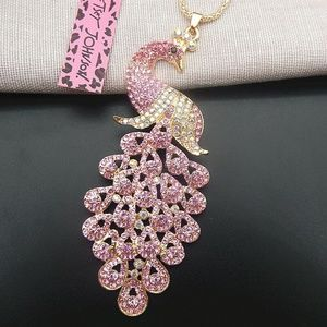 NWT Wild Life Pink Crystal Peacock Necklace, BJ